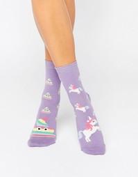 Носки с единорогами и радугой ASOS - Фиолетовый
