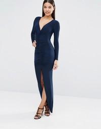 Платье макси с длинными рукавами и сборками Club L - Темно-синий