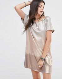 Платье с пайетками Free People - Rosegold combo