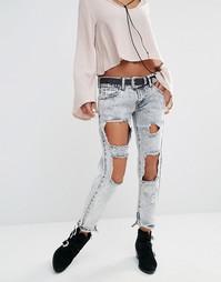 Выбеленные рваные джинсы Boohoo - Светло-голубой
