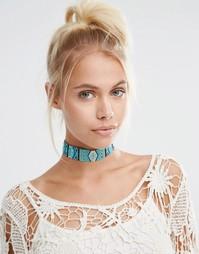 Бирюзовое ожерелье‑чокер из бисера Love Rocks - Синий