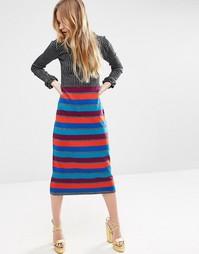 Трикотажное платье в полоску металлик с оборками ASOS - Мульти