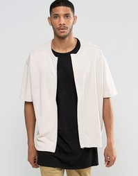 ASOS Oversized Short Sleeve Jersey Bomber Jacket In Pink - Розовый