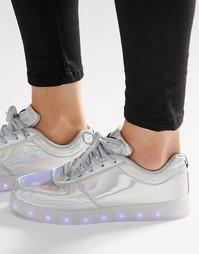 Кроссовки со светящейся подошвой Wize & Ope - Блестящий серебристый