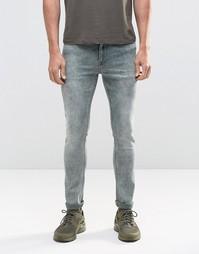 Зеленые супероблегающие джинсы с эффектом кислотной стирки ASOS