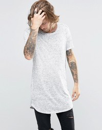 ASOS Super Longline T-Shirt In Hairy Textured Fabric With Curved Hem