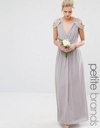 Платье макси с открытыми плечами и запахом TFNC Petite Wedding