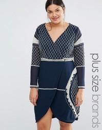 Платье мини с глубоким вырезом, длинными рукавами и бисерной отделкой Lovedrobe Luxe