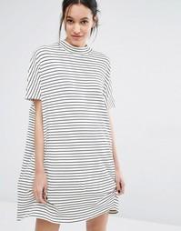 Платье в полоску с короткими рукавами Just Female Nora - Белый