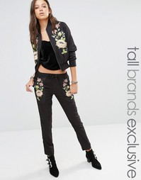 Джоггеры с цветочной вышивкой Glamorous Tall - Черный