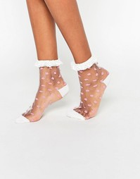 Прозрачные носки в горошек с кружевной отделкой ASOS - Белый