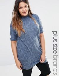 Меланжевая футболка с высоким воротом Junarose - Синий
