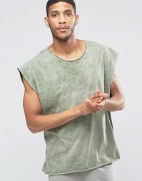 Свободная футболка с овальным вырезом и эффектом кислотной стирки ASOS