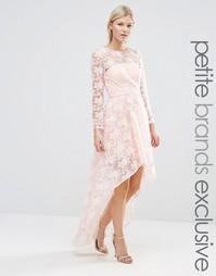 Платье асимметричной длины из цветочного кружева Chi Chi London Petite