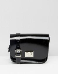 Сумочка через плечо The Leather Satchel Company - Лакированный черный
