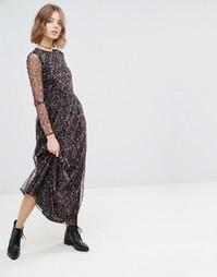Платье макси с цветочным принтом First & I - Цветочный