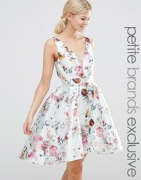 Chi Chi London Petite Plunge Front High Low Skater Dress In Allover Fl