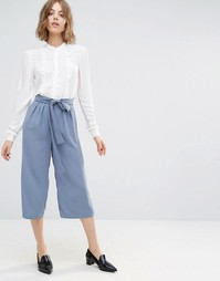 First & I Belted Culotte Pants - Flint stone