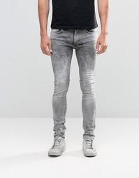 Серые облегающие джинсы Religion Hero - Grey veins
