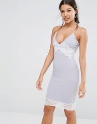 Missguided Contrast Lace Cami Dress - Серый