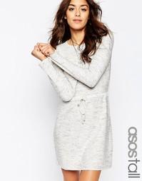 Трикотажное платье с завязкой на талии ASOS TALL - Серый