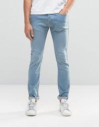 Синие выбеленные суперзауженные джинсы LDN DNM - Синий