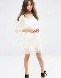 Цельнокройное платье мини с бахромой ASOS - Кремовый