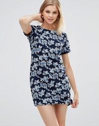 Платье-туника с принтом роз Poppy Lux Zaria - Темно-синий