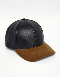 Черная/цвета хаки бейсболка ASOS