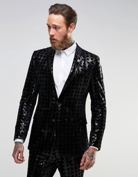 Супероблегающий пиджак с пайетками ASOS - Черный