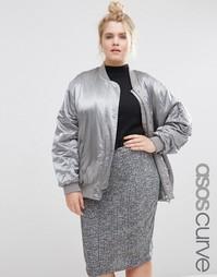Атласная куртка-пилот ASOS CURVE Luxe - Серебристо-серый