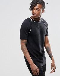 Вязаная футболка из смешанной мериносовой шерсти ASOS - Черный