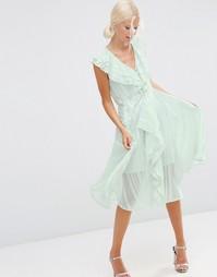 Платье миди в полоску с рюшами и молнией спереди ASOS - Мятный
