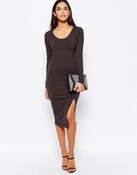 Платье миди в рубчик с разрезами по бокам Club L - Темно-серый