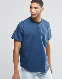 ASOS Woven T-Shirt In Navy With Contrast Rib - Темно-синий