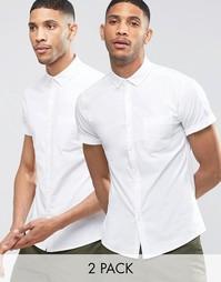 Набор из 2 белых зауженных оксфордских рубашек с короткими рукавами AS Asos