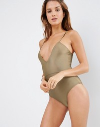 ASOS Lace Up Back Plunge Swimsuit - Planet mink