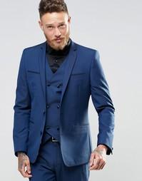 Темно-синий пиджак зауженного кроя ASOS - Темно-синий