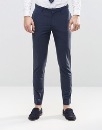 ASOS Skinny Suit Trousers In Navy Check - Темно-синий