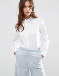 Рубашка с бантом и вышивкой на воротнике ASOS - Белый