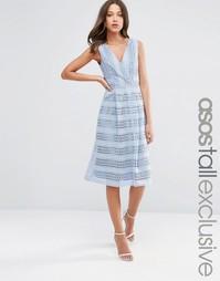 Кружевное платье миди для выпускного ASOS TALL - Синий