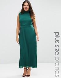 Платье макси размера плюс с плиссированной юбкой Lovedrobe - Изумруд