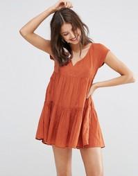 Ярусное пляжное платье с присборенной юбкой ASOS - Терракотовый