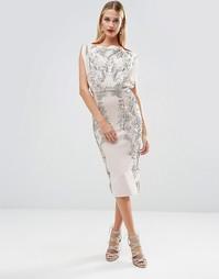 Платье миди с декоративной отделкой ASOS RED CARPET - Телесный