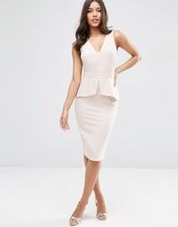 Платье-футляр без рукавов с баской ASOS - Blush