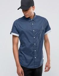 Рубашка с короткими рукавами и контрастными отворотами Esprit