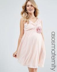Платье мини с оборкой и V-образным вырезом ASOS Maternity - Телесный