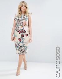 Платье с цветочным принтом ASOS CURVE - Цветочный рисунок