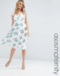 Платье миди для беременных с кружевом и принтом ASOS Maternity Kate