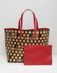 Двусторонняя сумка для покупок в горошек Love Moschino - Красный